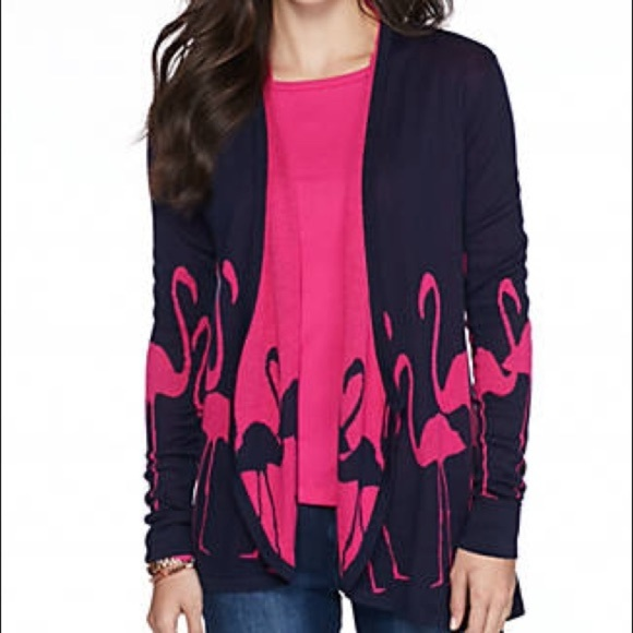 8038d8e6700e7 Crown   Ivy Navy Pink Flamingo Cardigan NWT